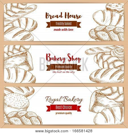 Bread banners set for bakery shop. Vector sketched bread assortment of rye loaf brick and french baguette, wheat bagel, twist or braided bread, fresh and tasty bun and sweet roll dessert. Design with ribbons for premium quality baker shop and pastry