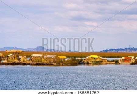 View of the manmade floating islands near Puno Peru