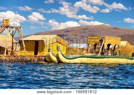 UROS FLOATING ISLANDS PERU - SEPTEMBER 19: Entrance to the Uros Floating Islands Peru on September 19 2014