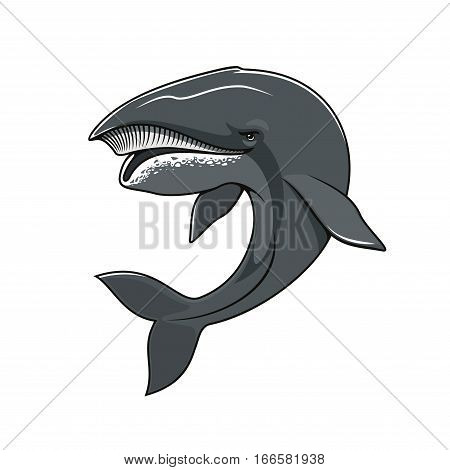 Whale vector icon for mascot symbol. Isolated sea or ocean animal cachalot of toothed big whale mammal fish with massive big head for sport team emblem, fishing sign or fishery industry badge