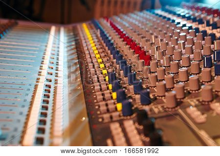 Sound mixer control panel, close-up of audio controls