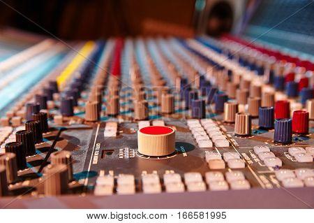 Sound mixer control panel close-up of audio controls