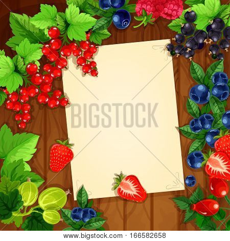 Message blank page note design of berries on wooden background. Vector bunches of strawberry, cherry and raspberry, blackberry and blueberry, black currant or red currant, gooseberry and briar. Poster for message notes or recipe for kitchen