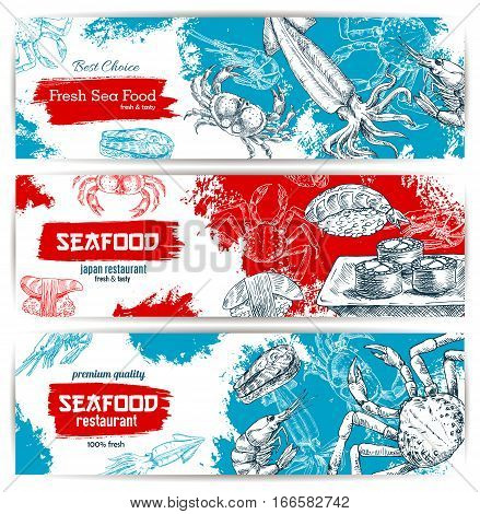 Seafood sketch banners set with fish food sushi rolls and sashimi, fresh lobster and crab, salmon grilled steak, shrimp and squid with red caviar. Vector design for seafood restaurant, japanese oriental sushi bar or fishery market, store or shop