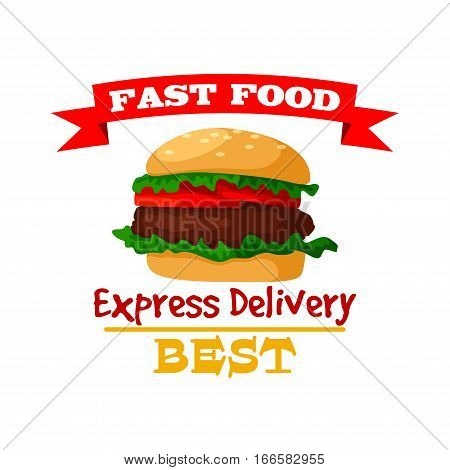 Hamburger icon. Fast food burger emblem of crispy sesame bun, fresh meat cutlet and vegetables lettuce. Vector isolated fast food meal symbol with ribbon for fast food sign or takeaway menu or delivery