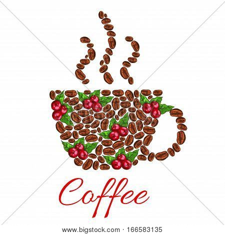 Coffee beans in shape of cup. Vector hot coffee mug symbol designed of combined fresh and roasted coffee beans. Steamy cup of hot espresso, aromatic cappuccino latte drink or hot chocolate. Design for cafe or cafeteria