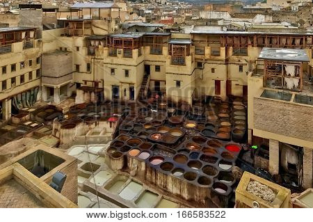 Fès, Morocco, January 19, 2017: The leather tannery and dyeing operation at Fès, in Morocco.