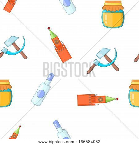 Attractions of Russia pattern. Cartoon illustration of attractions of Russia vector pattern for web