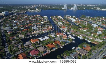 Aerial photo of Eastern Shores Miami FL neighborhood