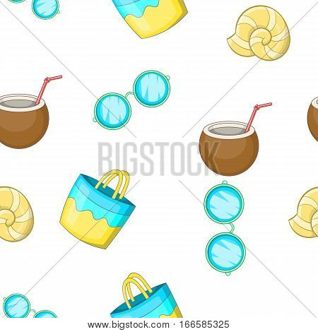 Sandy beach pattern. Cartoon illustration of sandy beach vector pattern for web