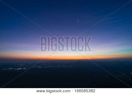 Sunrise on top mountain with morning star
