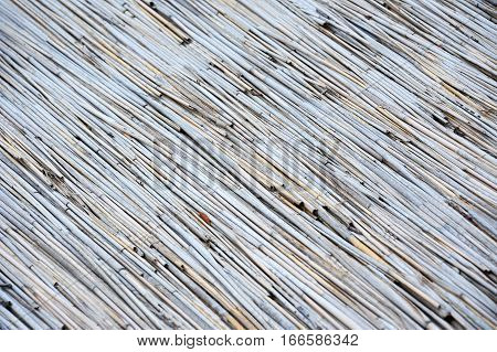 Reed background from roof of antique hut