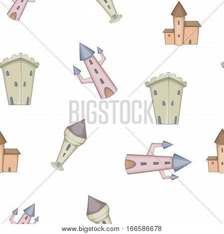 Medieval castles pattern. Cartoon illustration of medieval castles vector pattern for web