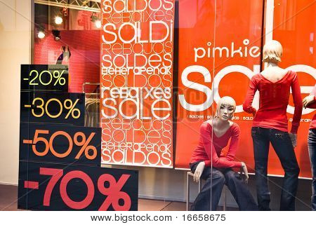 Shop Window With Sale Banners. Shopping Series. poster