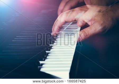 Musician's Hand Is Playing A Keyboard