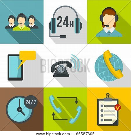 Online consultation icons set. Flat illustration of 9 online consultation vector icons for web