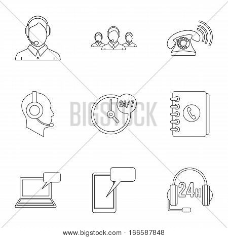 Technical support icons set. Outline illustration of 9 technical support vector icons for web