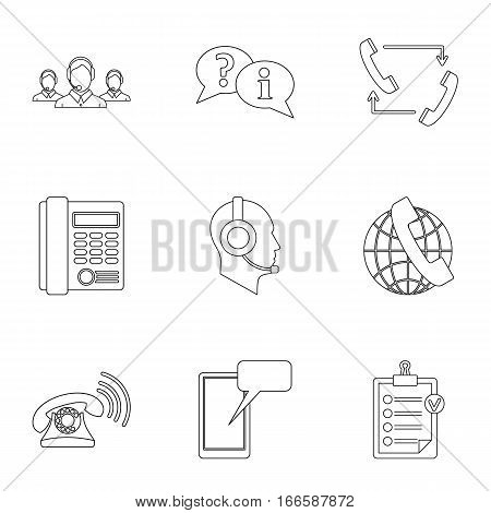 Online support icons set. Outline illustration of 9 online support vector icons for web