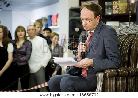 RUSSIA, MOSCOW - JANUARY 30: Mikhail Seslavinsky Reading at Repuplic Bookstore, Russian Pioneer Magazine, Pioneer Readings In Repuplic Bookstore, January 30, 2009 in Moscow, Russia.