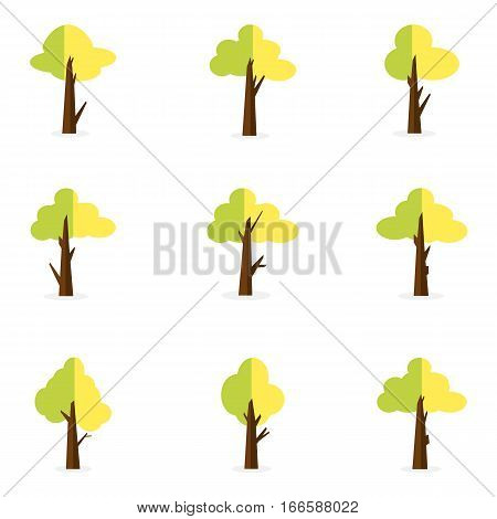 Illustration of green tree set collection stock