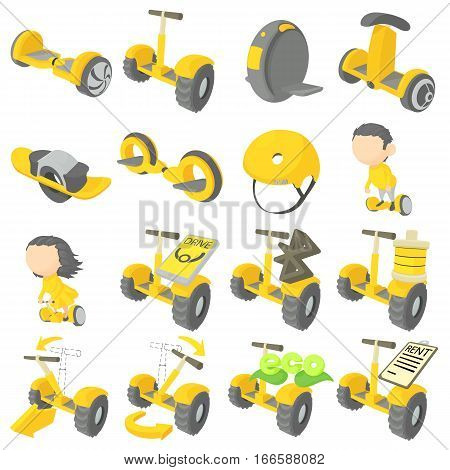 Balancing scooter icons set. Cartoon illustration of 16 balancing scooter vector icons for web