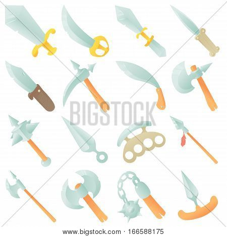 Steel arms items icons set. Cartoon illustration of 16 steel arms items vector icons for web