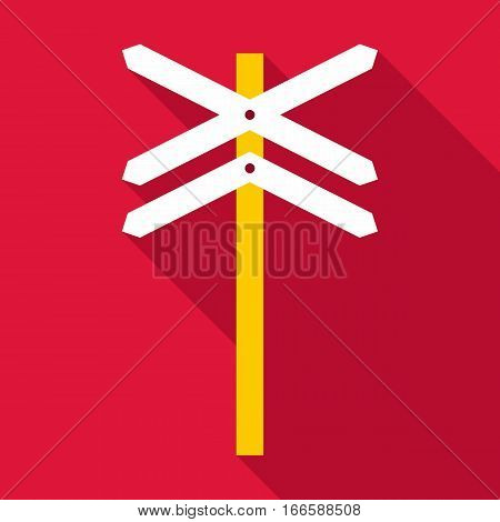 Railroad crossing sign icon. Flat illustration of railroad crossing sign vector icon for web design