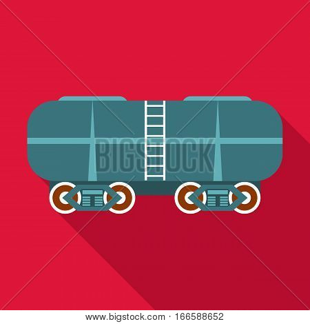 Oil railway tank icon. Flat illustration of oil railway tank vector icon for web design