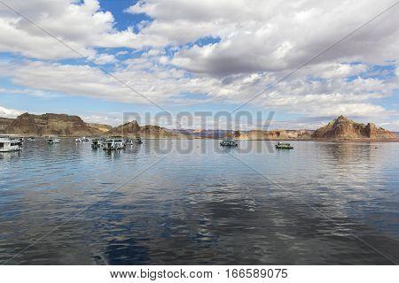 Houseboats On A Fall Day On Lake Powell - Arizona/utah