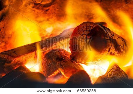Glowing ashes-embers background, fire red abstract background