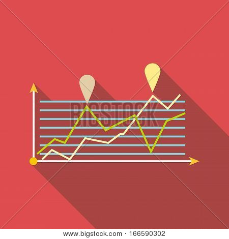 Growth chart infographics icon. Flat illustration of growth chart infographics vector icon for web design