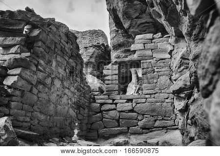 Looking into the remains of an Ancestral Puebloan room. Part of an ancient pueblo in Canyons of the Ancients National Monument.