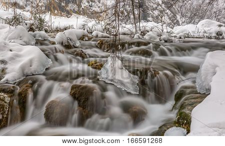 Frozen cascades in winter time at Plitvice lakes in Croatia.