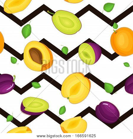 Seamless vector pattern of ripe plum apricot fruit. Striped zig zag background with delicious juicy plums apricots whole leaf slice half. Vector fresh fruit Illustration for printing on fabric textile