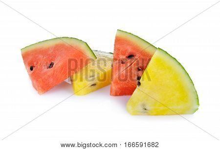 portion cut yellow and red watermelon on white background