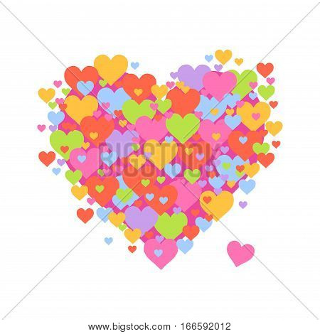 Vector stock of heart shaped symbol made from tiny hearts
