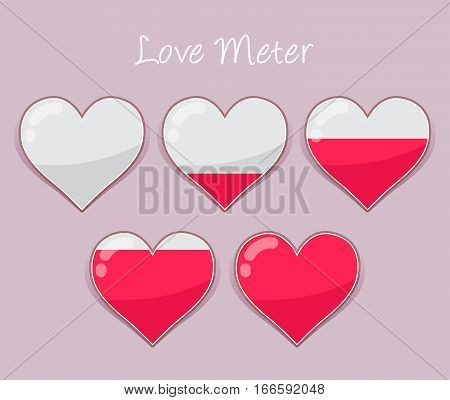 Vector stock of hearts love meter icon from empty to full