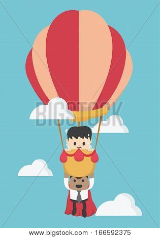 Concept help fellow businessmen to success. Balloon super businessman To the sky