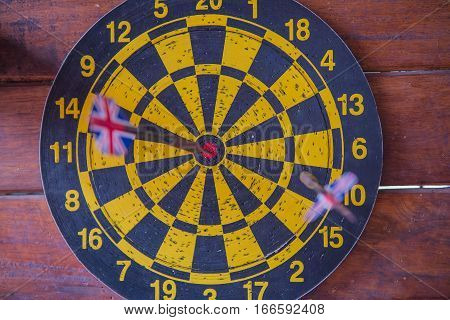 dart board with dart arrow. focus on target business concept .