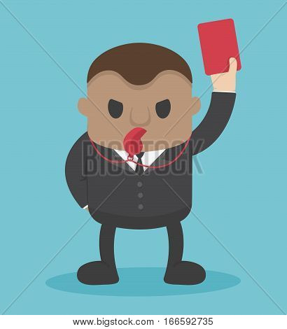businessman blow whistle lift red card eps.10