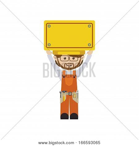 colorful man worker with toolkit and yellow billboard . Vector illustration