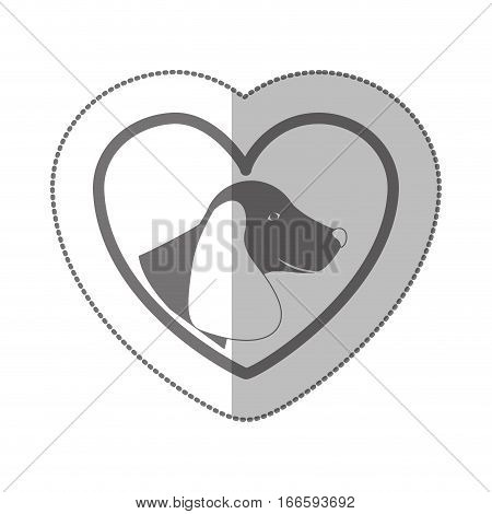 grayscale silhouette middle shadow sticker with dachshund dog inside of heart vector illustration