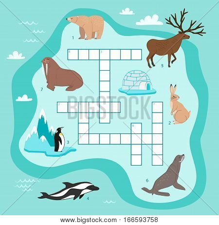 Animals crossword, education game for children vector illustration. Penguin, walrus, seal, rabbit, bear, reindeer, dolphin in cartoon style. Wildlife animals crossword game for preschool education. Cartoon crossword with wild animals. Kids logical game.
