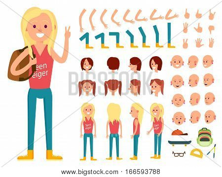 Teenager female character creation set vector illustration. Girl for animation with various gesture, emotion on face, hand, leg, pose, hairstyle. Front, side, back view animated teenager with backpack. Character creator kit. Girl with different emotion fo