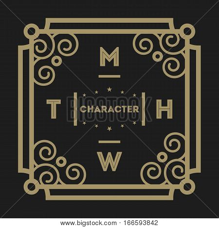 Geometric monogram vintage abstract logo isolated vector illustration. Talisman, mirror, harmony, waves brand. Luxury insignia logo vector. Monogram emblem insignia. Template of monogram logotype. Monogram or insignia vector sign.