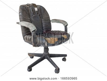 Black Office chair old damage leather and dirty isolated on white background with clipping path