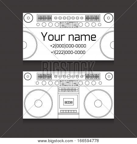 Set of double-sided business card for a DJ music production worker. A business card with a tape recorder boombox. Vector element for your design.