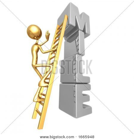 Climbing A Ladder To The Top Of A Milestone