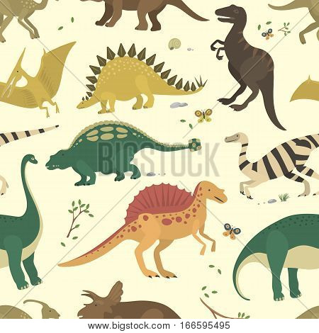 Dinosaur vintage color seamless pattern. Vector monster stegosaurus drawing textile repeat style. Sweet character ancient fashion fabric cartoon background.