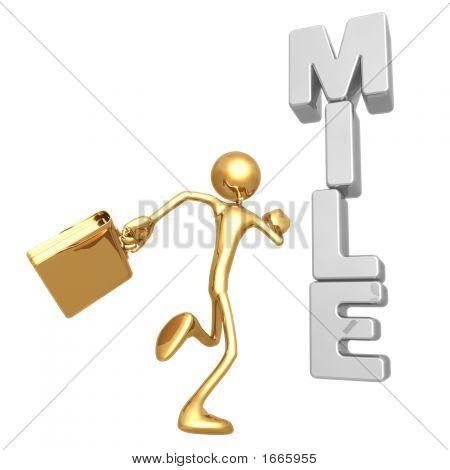 Businessman Running Towards Milestone